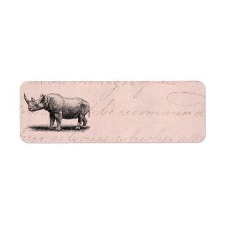 Rosa de los Rhinos del rinoceronte del ejemplo del Etiqueta De Remite