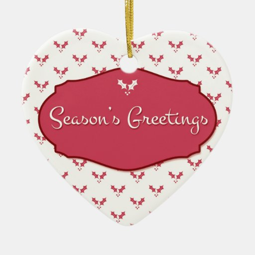 Rosa de los saludos de la estación con acebo ornaments para arbol de navidad