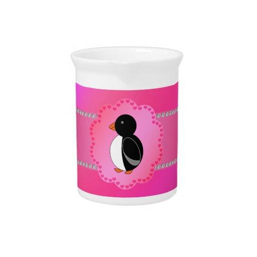 Rosa de lujo del pingüino jarras para bebida