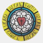 Rosa de Luther Etiquetas Redondas