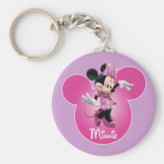 Rosa de Minnie Mouse Llavero Redondo Tipo Pin