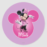 Rosa de Minnie Mouse Pegatina Redonda