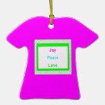 Rosa de moda del ornamento de la camiseta de la ca ornamento para arbol de navidad