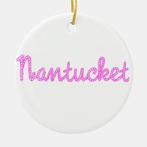 Rosa de Nantucket Adorno Navideño Redondo De Cerámica