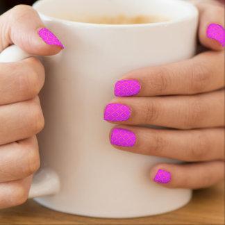 Rosa de neón brillante acolchado oro elegante arte para uñas