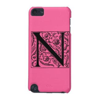 """Rosa de neón brillante caliente """"N """" del monograma Funda Para iPod Touch 5G"""