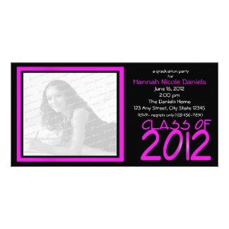 Rosa de neón de la graduación 2012/ tarjeta fotografica personalizada