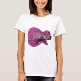 Rosa de neón del resplandor de la Guitarra-T Playera