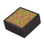 Rosa de neón elegante de moda del damasco en verde caja de regalo de calidad