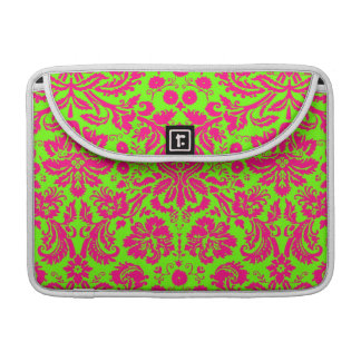 Rosa de neón elegante de moda del damasco en verde funda para macbook pro