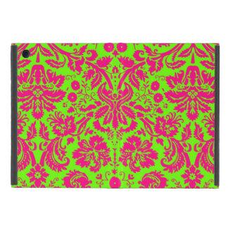 Rosa de neón elegante de moda del damasco en verde iPad mini coberturas