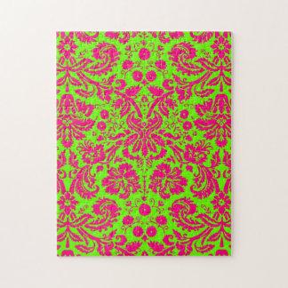 Rosa de neón elegante de moda del damasco en verde puzzles con fotos