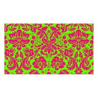 Rosa de neón elegante de moda del damasco en verde tarjetas de visita