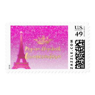 Rosa de neón/oro/Eiffel/Quinceanera de PixDezines Timbre Postal