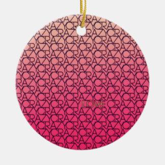 Rosa de neón y melocotón de Typograpgy del amor lo Ornamentos De Navidad