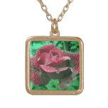Rosa de Oregon cubierto en gotas de agua Collar Personalizado