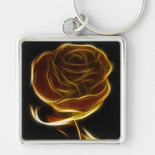 Rosa de oro diseñado con software del vector llavero cuadrado plateado