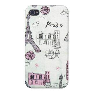 Rosa de París de la torre Eiffel iPhone 4 Carcasa