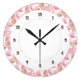 Rosa de pasteles del art déco y modelo bonitos de  reloj redondo grande
