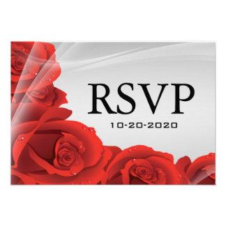 Rosa de plata y rojo que casa tarjetas de la respu invitaciones personales