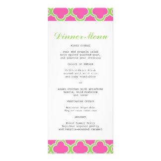 Rosa de Quatrefoil y menú delgado verde de la cena Diseño De Tarjeta Publicitaria