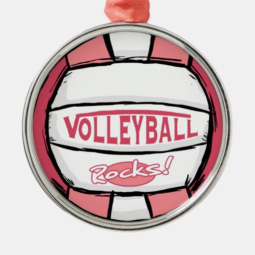Rosa de rocas del voleibol adorno navideño redondo de metal