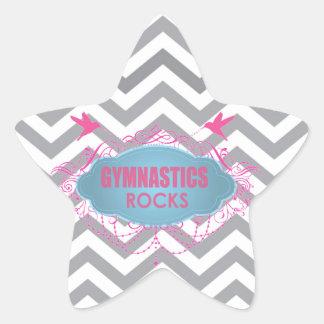 Rosa de rocas gimnástico lindo y regalos del azul calcomanías forma de estrellaes