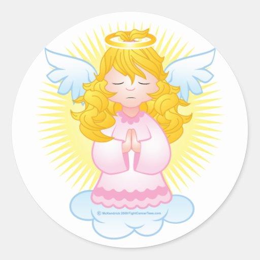 Rosa de rogación del ángel etiqueta redonda
