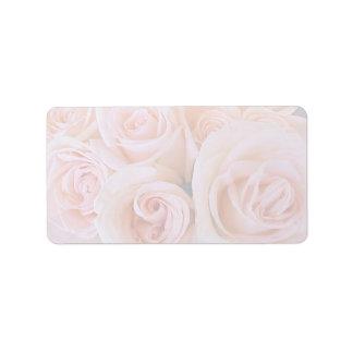 Rosa de rosas etiquetas de dirección