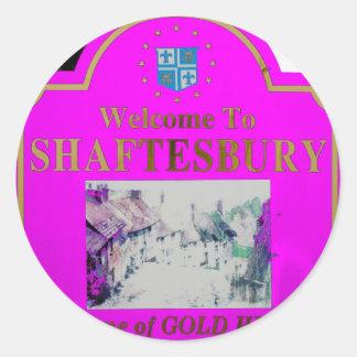 Rosa de Shaftesbury Pegatina Redonda