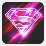 Rosa de Supergirl Pegatina Cuadrada
