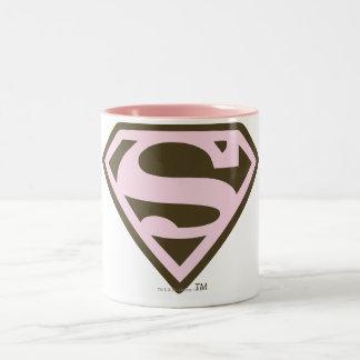 Rosa de Supergirl y logotipo de Brown Taza De Café De Dos Colores