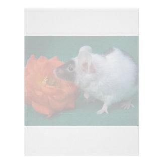 Rosa de té anaranjado del ratón blanco y negro membretes personalizados