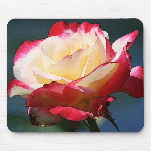 """Rosa de té híbrido del """"placer doble"""" mousepads"""