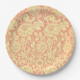 Rosa de William Morris y diseño del rosa Plato De Papel 22,86 Cm