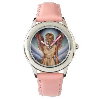 Rosa del acero inoxidable del ángel de guarda reloj de mano