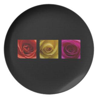 Rosa del amarillo anaranjado de los rosas del plato de cena