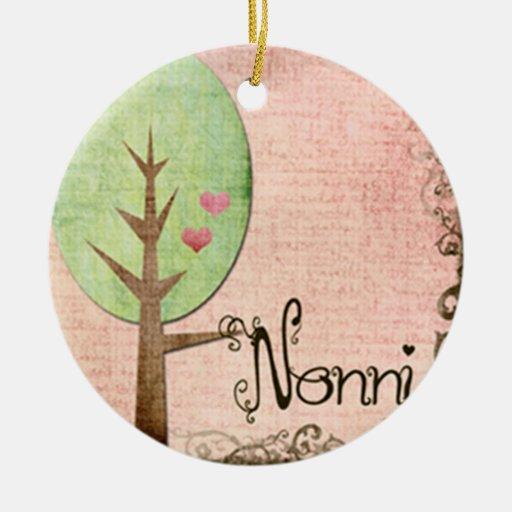 rosa del árbol del corazón del nonni adorno navideño redondo de cerámica
