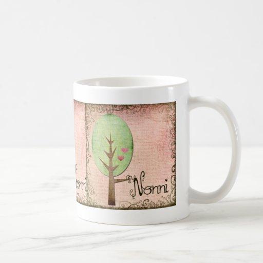 rosa del árbol del corazón del nonni tazas de café