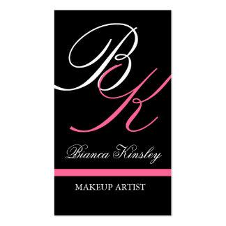 Rosa del artista de maquillaje de las tarjetas de  plantilla de tarjeta personal