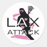 Rosa del ataque de LAX de los chicas de LaCrosse Pegatina Redonda