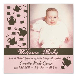 """Rosa del aviso del bebé de las tazas de la tetera invitación 5.25"""" x 5.25"""""""