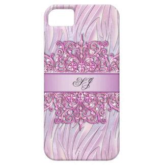 rosa del bonito del damasco de la cebra del iPhone iPhone 5 Case-Mate Cárcasas