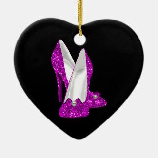 Rosa del brillo de Stileto de los zapatos del Adorno Navideño De Cerámica En Forma De Corazón