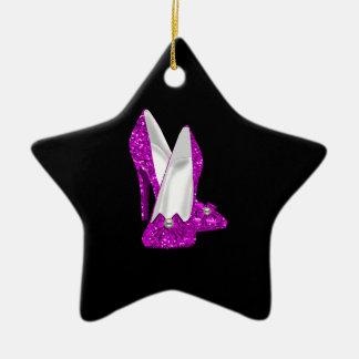 Rosa del brillo de Stileto de los zapatos del Adorno Navideño De Cerámica En Forma De Estrella