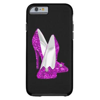 Rosa del brillo de Stileto de los zapatos del Funda De iPhone 6 Tough