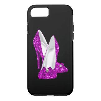 Rosa del brillo de Stileto de los zapatos del Funda iPhone 7