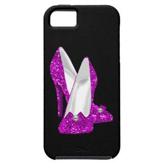 Rosa del brillo de Stileto de los zapatos del iPhone 5 Fundas