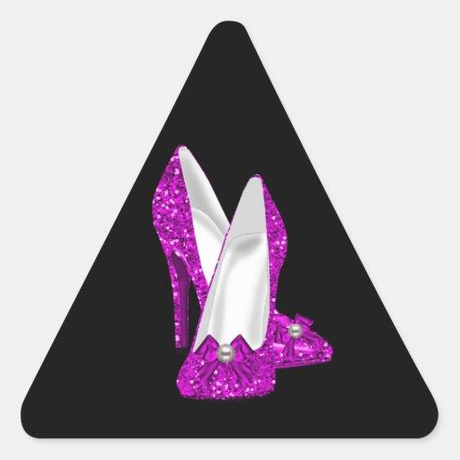 Rosa del brillo de Stileto de los zapatos del Pegatina Triangular