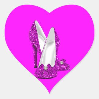 Rosa del brillo de Stileto de los zapatos del Pegatina En Forma De Corazón
